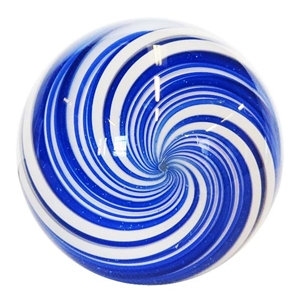 "Hot House Glass - ""Blue and White Swirl"""