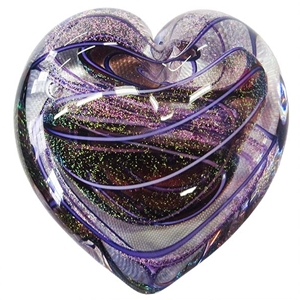 "Glass Eye Studio Heart Weight - ""Amethyst Hearts of Fire"""