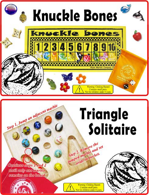 Knuckle Bones and Triangle Solitaire Game Instructions