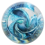 "Glass Eye Studio Small Marble Weight - ""Fireball Serpentine Teal"""