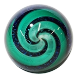 "Hot House Glass - ""Green and Black Dichroic Swirl"""