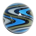 "Hot House Glass - ""Grey, Green, and Blue Twistback Swirl"""