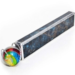 "Allison Borgschulte Kaleidoscope & Hot House Glass marble - ""Blue-Green and Champagne Rectangular Scope"""