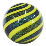 "Hot House Glass - ""Yellow and Black Dichroic Banded Swirl"""