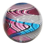 "Hot House Glass - ""Pink and Blue 1/2 & 1/2 Twistback Swirl"""