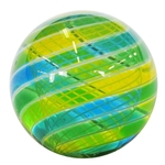 "Hot House Glass - ""Transparent Sky Blue, Green, and Lime Swirl with Latticino Core"""