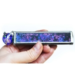 "4"" Equilateral Kaleidoscope for Shooter/Cobble Marbles - Metallic Purple/Blue"