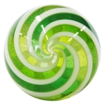 "Hot House Glass - ""White and Transparent Green Cane Swirl"""