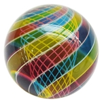 "Hot House Glass - ""Transparent Pink, Yellow, and Blue Swirl with Latticino Core"""