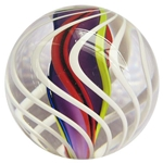 "Fritz Lauenstein - ""White Swirl with Multi Colored Ribbon Core"""