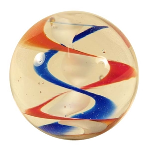"*Ernie Kober - ""Orange, White, and Blue Spiral Marble"""