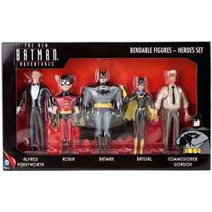 "The New Batman Adventures Bendables ""Heroes Set"" - Batman, Robin, Batgirl, Gordon, Alfred"