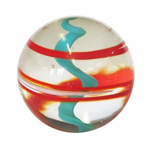 "*Ernie Kober - ""Red and Turquoise Blue Spiral Marble"""