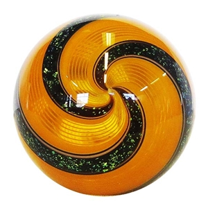 "Hot House Glass - ""Orange and Black Dichroic Swirl"""