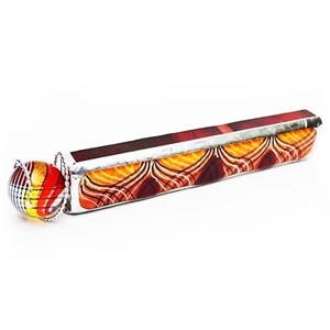 "Allison Borgschulte Kaleidoscope & Hot House Glass marble - ""Orange Feathered Rectangular Scope"""