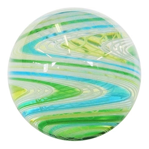 "Hot House Glass - ""Transparent Blue, Green, and Lime  Twistback Swirl"""