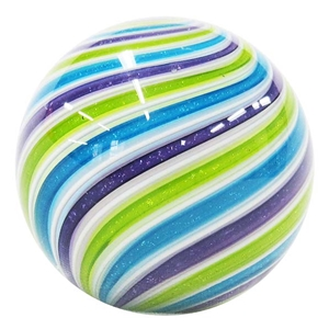 "Hot House Glass - ""White with Purple, Blue and Green Cane Swirl"""