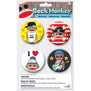 Sock Monkey Buttons Set