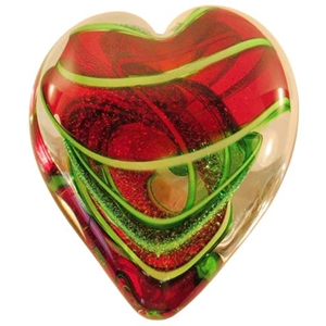 "Glass Eye Studio Heart Weight - ""Scarlet and Green Hearts of Fire"""