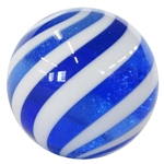 "Hot House Glass - ""Blue and White Barber Pole Swirl"""