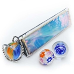 "4"" Equilateral Kaleidoscope for Boulder Marbles - Iridized Sky Blue"