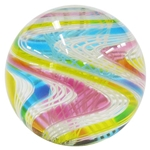 "Hot House Glass - ""Transparent Blue, Pink, and Yellow Twistback Swirl"""