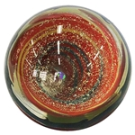 "Aaron West - ""Orange, Green, and Silvery Dichroic Vortex with Opal"""