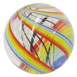 "Geoffrey Beetem - ""Rainbow Spiral with Latticino Core Marble"""