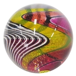 "Hot House Glass - ""Pink, Orange, and Yellow Half & Half Twistback"""