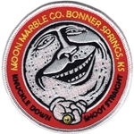 "Moon Marble Co. Embroidered Patch - Round 3.5"" diameter - red"