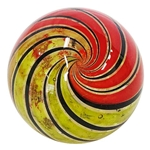 "Geoffrey Beetem - ""Transparent Orange and Yellow Swirl Marble"""
