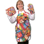 """Marble Madness"" Apron, Potholder, and Oven Mitt Set"