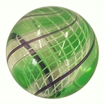 "Hot House Glass - ""Transparent Green Over Latticino Core Marble"""