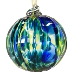 Blue and Green Marbled Ornament