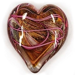 "Glass Eye Studio Hearts of Fire Paperweight - ""Pink"""