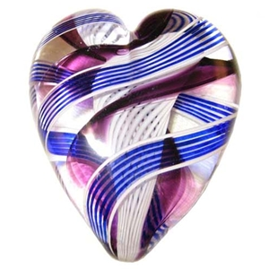 "Cuneo Furnace Heart - ""Large Transparent Purple, Blue, and White Latticino"""