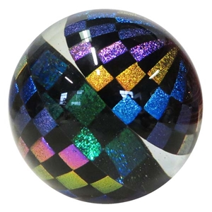 "Hot House Glass - ""Dichroic Checker Board Marble"""