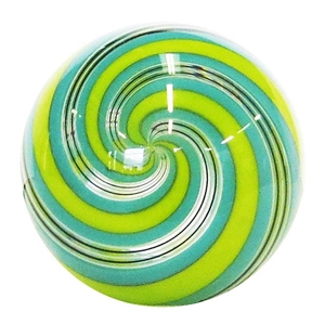 "Hot House Glass - ""Lime and Turquoise Swirl with Fine Black and White Lines"""