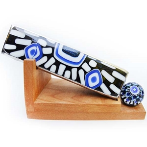 "Allison Borgschulte Kaleidoscope & Joshuah Justice Marble  - ""Black and Blue Geometric Scope"""