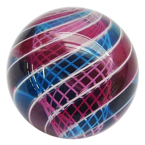 "Hot House Glass - ""Transparent Pink and Blue Swirl with Latticino Core"""