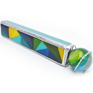 "Allison Borgschulte Kaleidoscope & Hot House Glass marble - ""Color Block Rectangular Scope"""