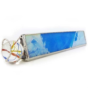 "8"" Star Kaleidoscope for Jumbo Marbles - Iridized Sky Blue"