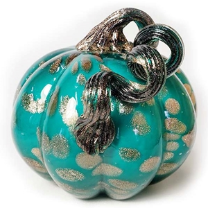 Teal and Gold Hand Blown Glass Pumpkin