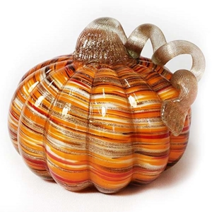 Orange and White Swirl Hand Blown Glass Pumpkin