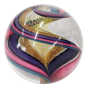 "Geoffrey Beetem - ""Pink and Purple Ribbon Spiral Marble"""