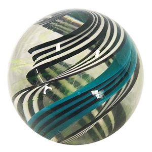 "Joshuah Justice - ""Black and White with Teal UV Spiral Marble"""