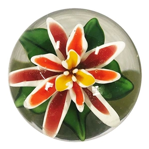 "Bernadette Gerbe - ""Red, Orange, and White Flower Marble"""