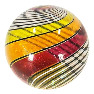 "Hot House Glass - ""Warm Colored Half and Half Swirl"""