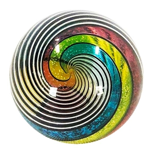 "Hot House Glass - ""Primary Colored Half and Half Swirl"""
