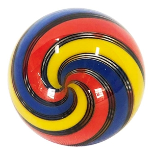 "Hot House Glass - ""Tri-Colored Swirl with Black Lines"""